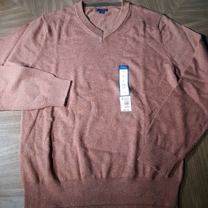 V Neck Sweater Long Sleeve 100% Cotton Rust New